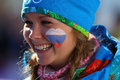 Ladies skiathlon sochi russia unidentified volunteer girl at km classic km free of sochi xxii olympic winter games Stock Photo