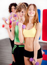 Ladies working out with dumbbells Stock Images