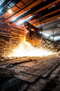 From ladle pours red hot steel martin furnace foundry Stock Photo