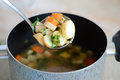 Ladle with soup Royalty Free Stock Photo