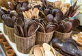 Ladles made ​​of wood thailand market Stock Photo
