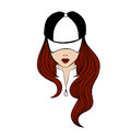 Lady in baseball cap