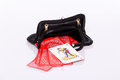 Lady black handbag small and red play cards Royalty Free Stock Image