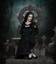 Lady in black portrait of a grieving woman cape Stock Photos