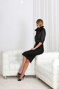 Lady in black young woman elegant dress Royalty Free Stock Photography