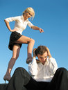 Lady boss and subordinate man Stock Images