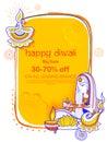 Lady burning diya on Happy Diwal Holiday Sale promotion advertisement background