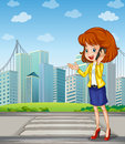 A lady with a cellphone standing at the pedestrian lane illustration of Royalty Free Stock Photo