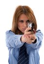Lady cop posing with gun Stock Image