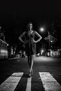 Lady on crosswalk art fashion portrait of young woman black and white Stock Photography