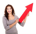 Lady direction arrow attractive young holding pointing up Stock Photo