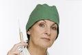 Lady doc show the syringe Royalty Free Stock Photo
