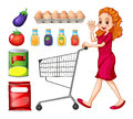 Lady doing grocery shopping