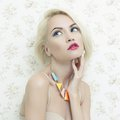 Lady doll fashion art photo of beautiful with blue eyes Stock Photos