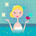 Lady with drink in whirpool Royalty Free Stock Photography