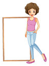 A lady with an empty board at her side illustration of on white background Royalty Free Stock Images