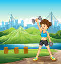 A lady exercising near the river illustration of Royalty Free Stock Image