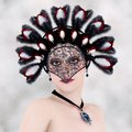Lady with the feathered headdress d illustration portrait of a a Royalty Free Stock Photo