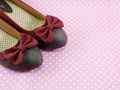 Lady flat shoes decoration with bow on pink background Royalty Free Stock Photo