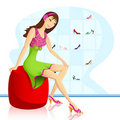 Lady in Footwear store Royalty Free Stock Images