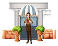 A lady in front of the restaurant illustration on white background Royalty Free Stock Images