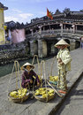 Fruit sellers in hoi an in vietnam Royalty Free Stock Photo