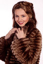 Lady in a fur coat. Stock Photos