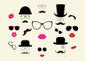 Lady and gentleman icon set hats moustaches eyeglasses lips vector Royalty Free Stock Photo