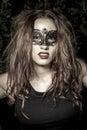 Lady girl veni het maskerclose up vrouwelijke portrait in van ce carnaval voor Royalty-vrije Stock Fotografie