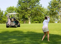 Lady And Golf Cart Stock Photos