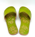 Lady green sandals Royalty Free Stock Image
