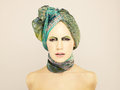 Lady in green turban Stock Photo