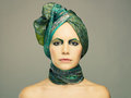 Lady in green turban Stock Images