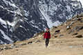Lady hiking Himalayas Royalty Free Stock Photo