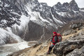 Lady hiking Himalayas Royalty Free Stock Photo