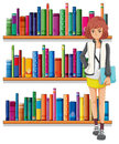 A lady holding a book standing in front of the bookshelves illustration on white background Stock Photo