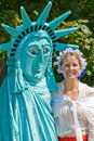 Lady Liberty and Betsy Ross impressionists. Royalty Free Stock Photo