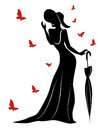 Lady in long gown and hat with umbrella wearing a an butterflies around her contour vector illustration Stock Photography