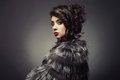 Lady in luxurious fur coat fashion photo of beautiful young a Royalty Free Stock Images