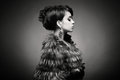 Lady in luxurious fur coat fashion photo of beautiful young a Stock Photography