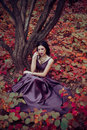 Lady in a luxury lush purple dress sits near the tree fantastic shot fairytale princess is walking the autumn forest Royalty Free Stock Photos