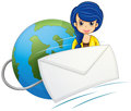 A lady in the middle of the globe and the envelope illustration on white background Royalty Free Stock Photography