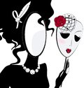 Lady mirror with mask abstract black silhouette of Stock Image
