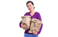 Lady with paper bags happy holding isolated in white background Royalty Free Stock Image