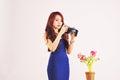 Lady Photographer Taking Photo Royalty Free Stock Photo