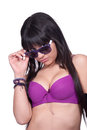 Lady with purple bra and sunglasses Royalty Free Stock Photo