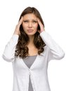 Lady putting hands on head half length portrait of girl isolated white concept of headache and high temperature Royalty Free Stock Photo