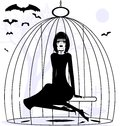 Lady raven black and white mystical fantasy girl in a cage Stock Photo