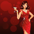 Lady in red beautiful girl holding glass of martini Royalty Free Stock Image