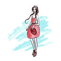 Lady in red dress on the background of watercolor strokes. Vector fashion illustration, isolated on white background.